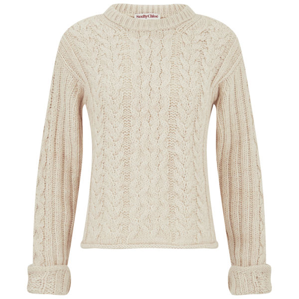 See By Chloé Women's Cable Knit Jumper - Light Pink