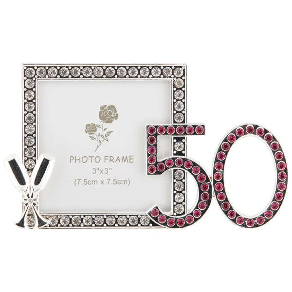 50th Birthday Diamante Frame 3x3 Traditional Gifts Zavvi