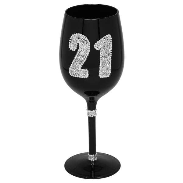 Black Diamante Wine Glass