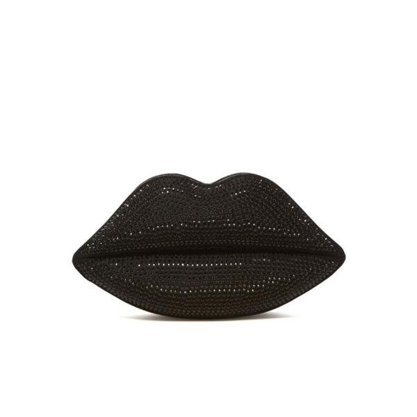 Lulu Guinness Swarovski Lips Clutch - Black
