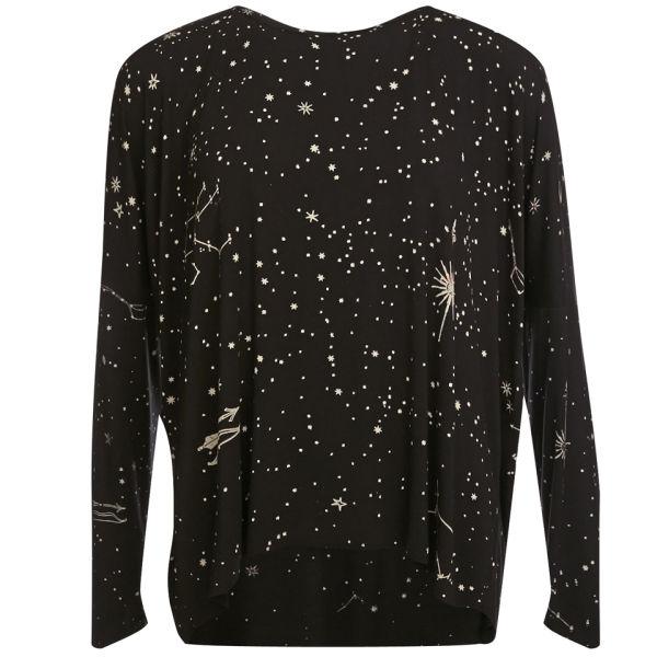 Draw In Light Women's Surf T-Shirt - Midnight Ship On Black