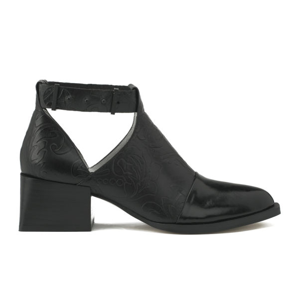 Senso Women's Mae Floral Leather Heeled Ankle Boots - Black