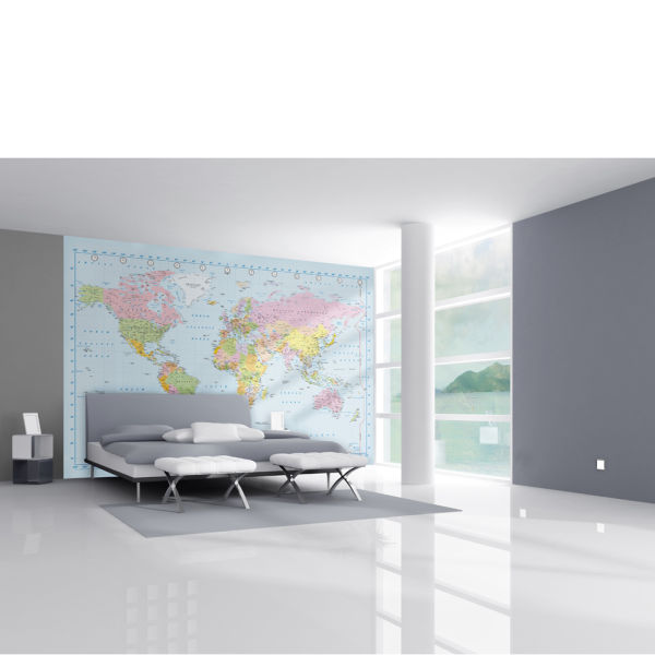 World Map In Stunning Digital Colour Wall Mural IWOOT - Floor to ceiling world map