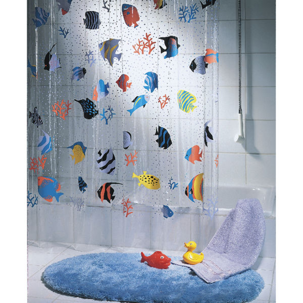 fish shower curtain spirella fish multicolour shower curtain iwoot 28792
