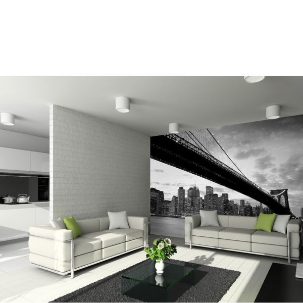 Designart New York City Skyline Panorama 5 Piece Wall: New York's Brooklyn Bridge And City Skyline Wall Mural