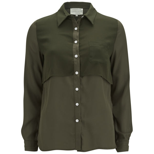 Lavish Alice Women's Sheer Dip Hem Shirt - Khaki Womens Clothing ...