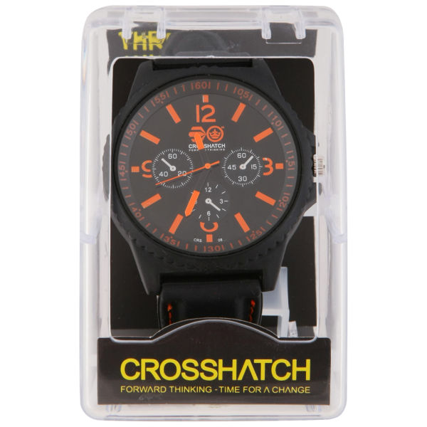 Crosshatch Men S Case Watch Black Orange Clothing
