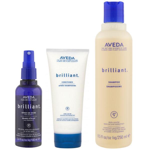 Aveda Pflege Trio für Haarglanz Brilliant Shampoo, Conditioner & Spray On Shine