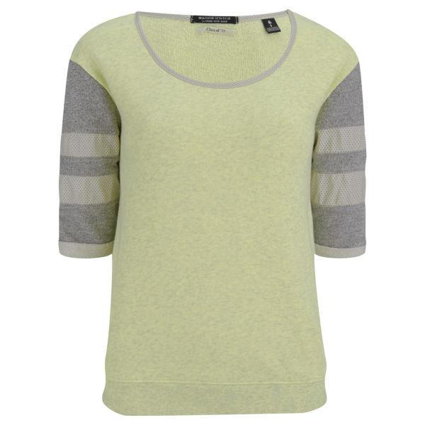 Maison Scotch Women's Short Sleeve Baseball Sweatshirt - Yellow