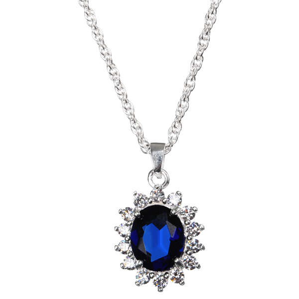 Silver plated pendant necklace with sapphire effect centre in the silver plated pendant necklace with sapphire effect centre in the style of kate middleton aloadofball Image collections