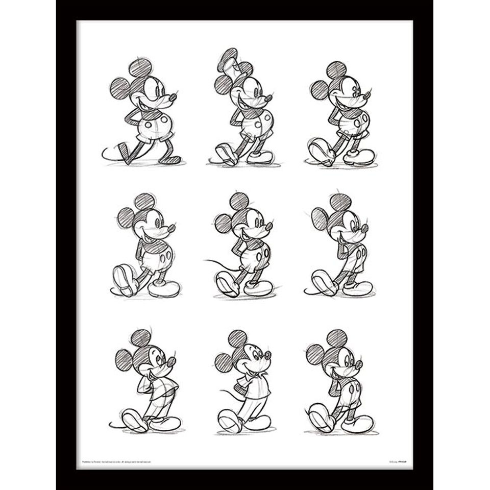 Mickey Mouse Sketched - Framed 30x40cm Print