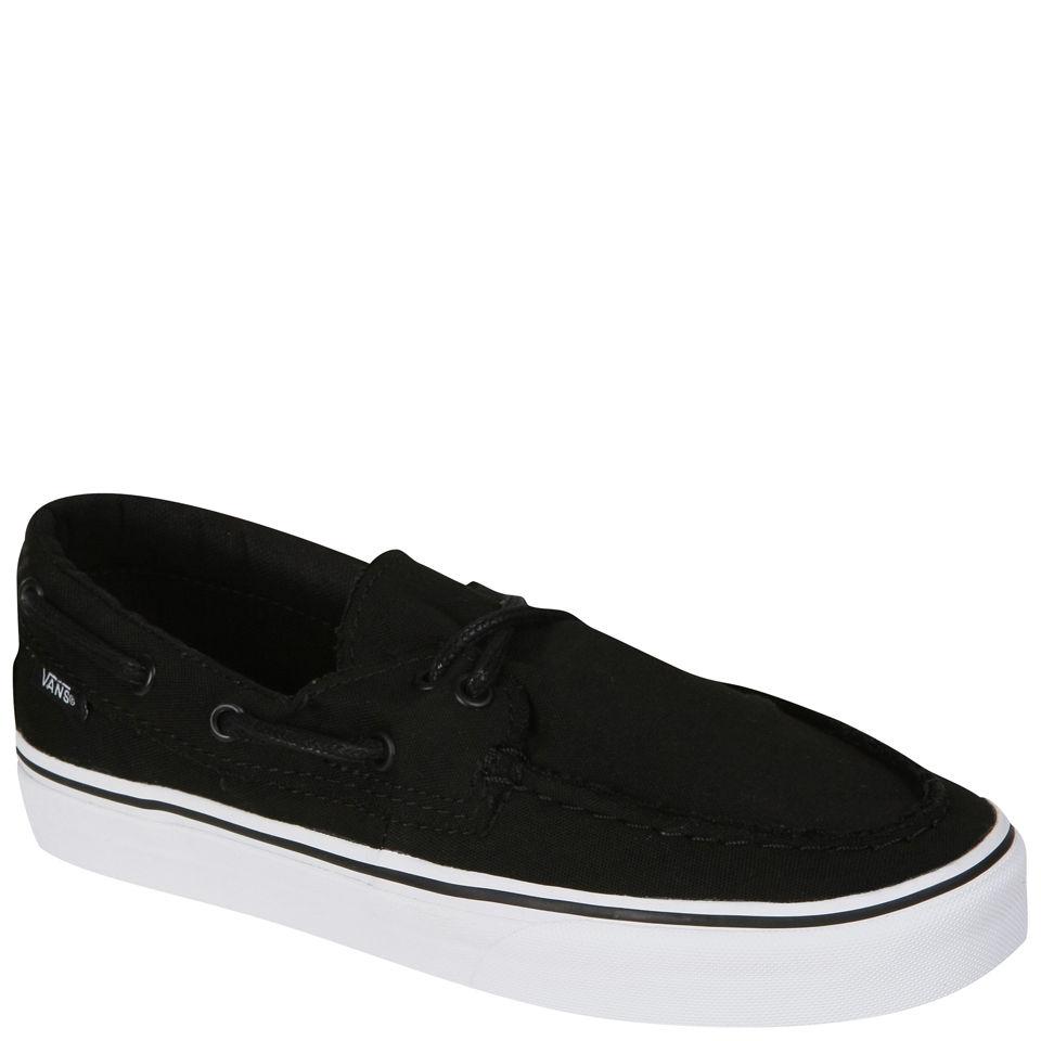 34f7b67a84 Vans Zapato Del Barco Canvas Deck Shoes - Black True White Clothing ...