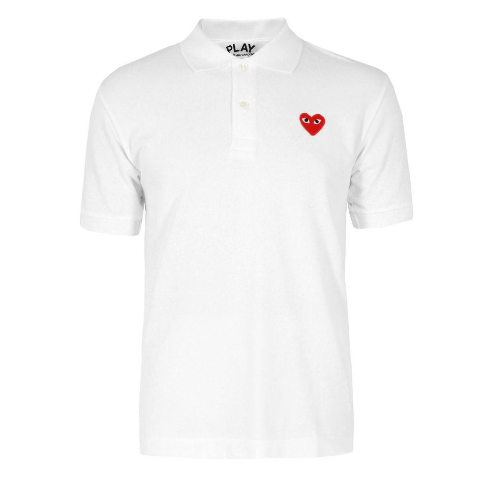 c3ea3383c3b6 Comme des Garcons PLAY Men s P1T006 Polo Shirt - White - Free UK ...