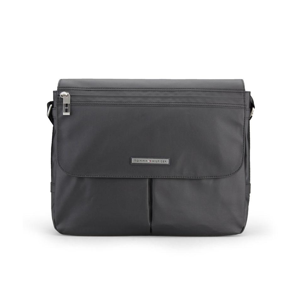44c0eb686d ... Tommy Hilfiger Men's Shelson Canvas Messenger Bag with Flap - Black