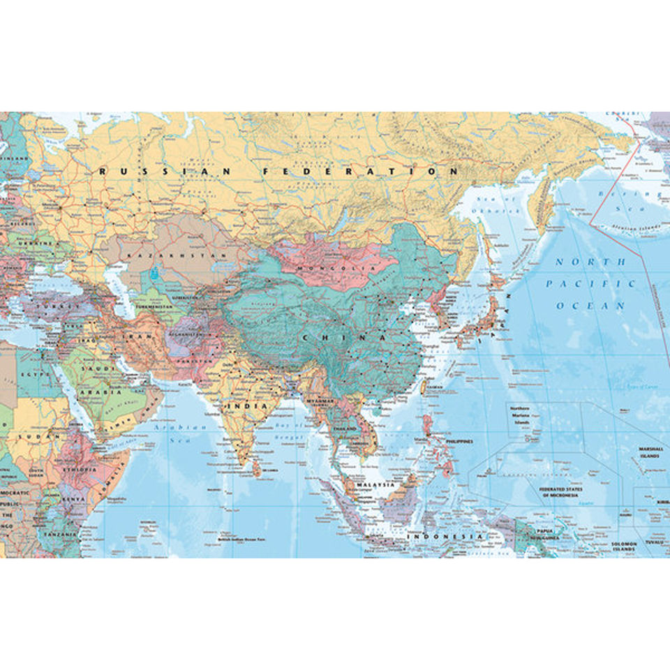 Map Of Asia Today.Asia And Middle East Map Maxi Poster 61 X 91 5cm
