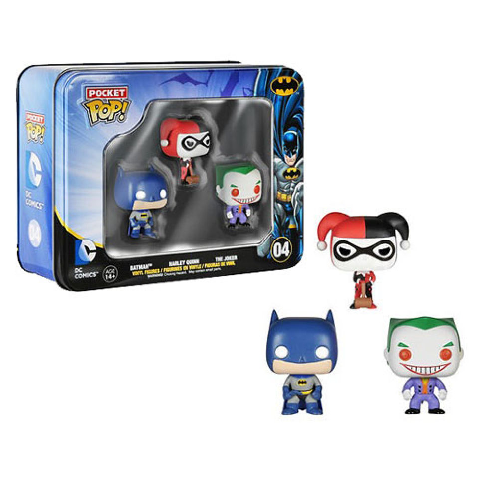 DC Comics Batman Pocket Mini Pop! Vinyl Figure 3 Pack Tin