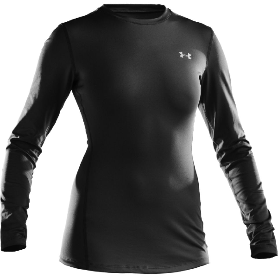 641ce863ace1d8 Under Armour Women's Coldgear Fitted Crew Long Sleeve Top - Black/Silver |  ProBikeKit.com
