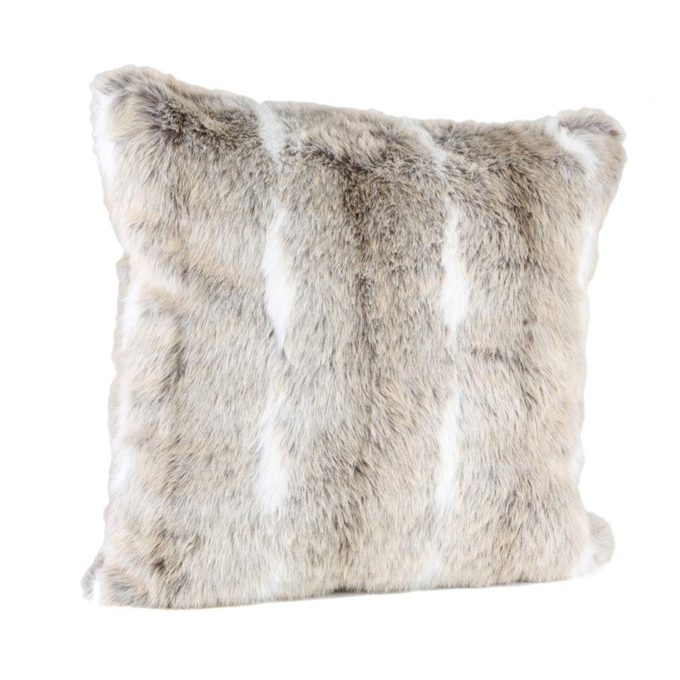 Malini Natural Faux Fur With White Stripe Cushion Iwoot