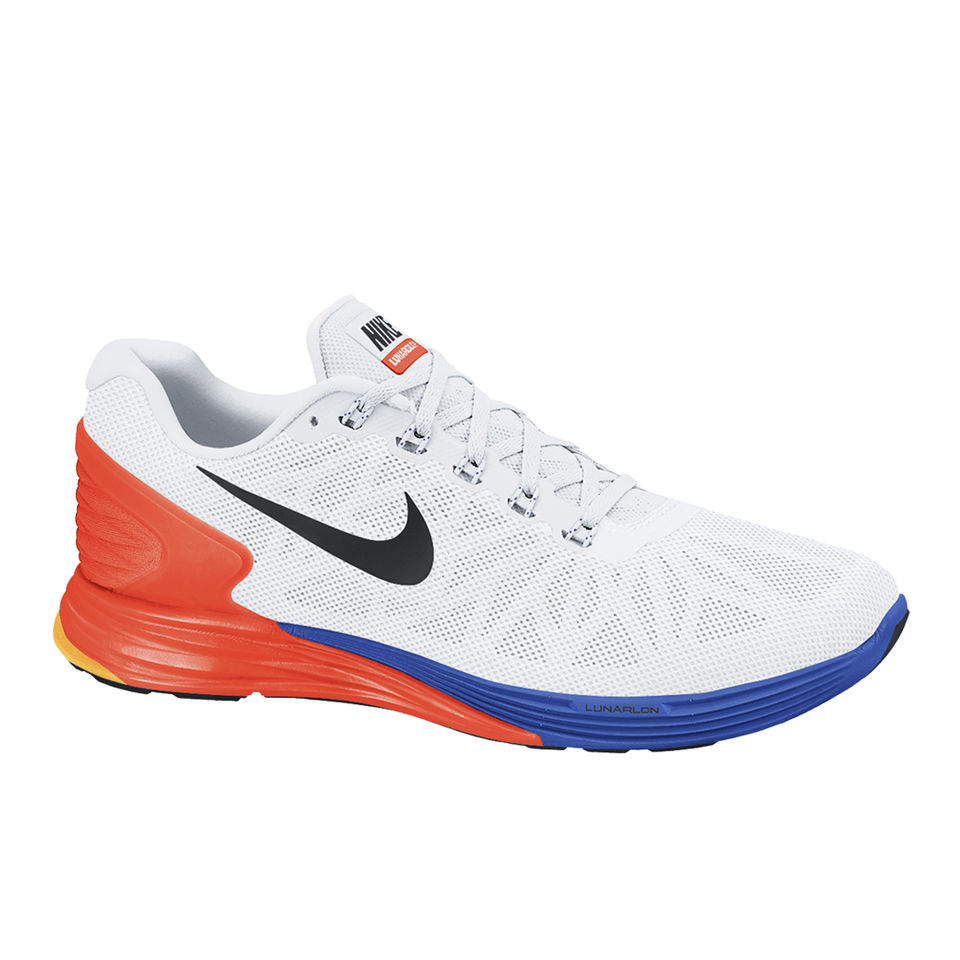 08ad7f92c3b7 Nike Men s Lunarglide 6 Running Shoes - White Orange Blue. Description