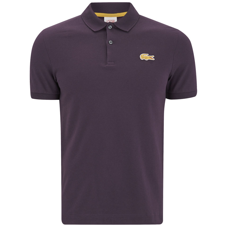 a4421c55d9d Lacoste Live Men s Short Sleeve Ribbed Collar Polo Shirt - Ganache ...
