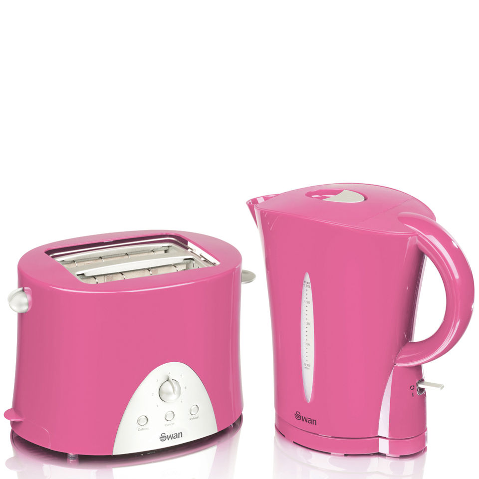 Swan Kettle And Toaster Twin Pack Pink Homeware