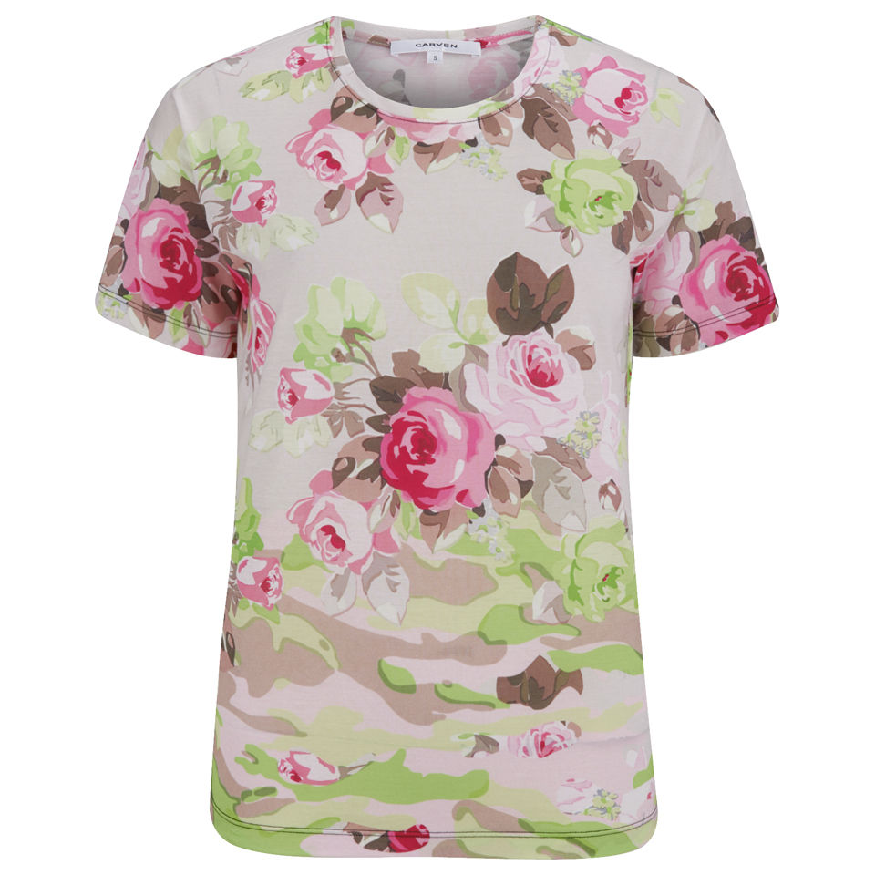 12867e1a9b8a0 Carven Women s Jersey Floral Camouflage T-Shirt - Sable - Free UK ...