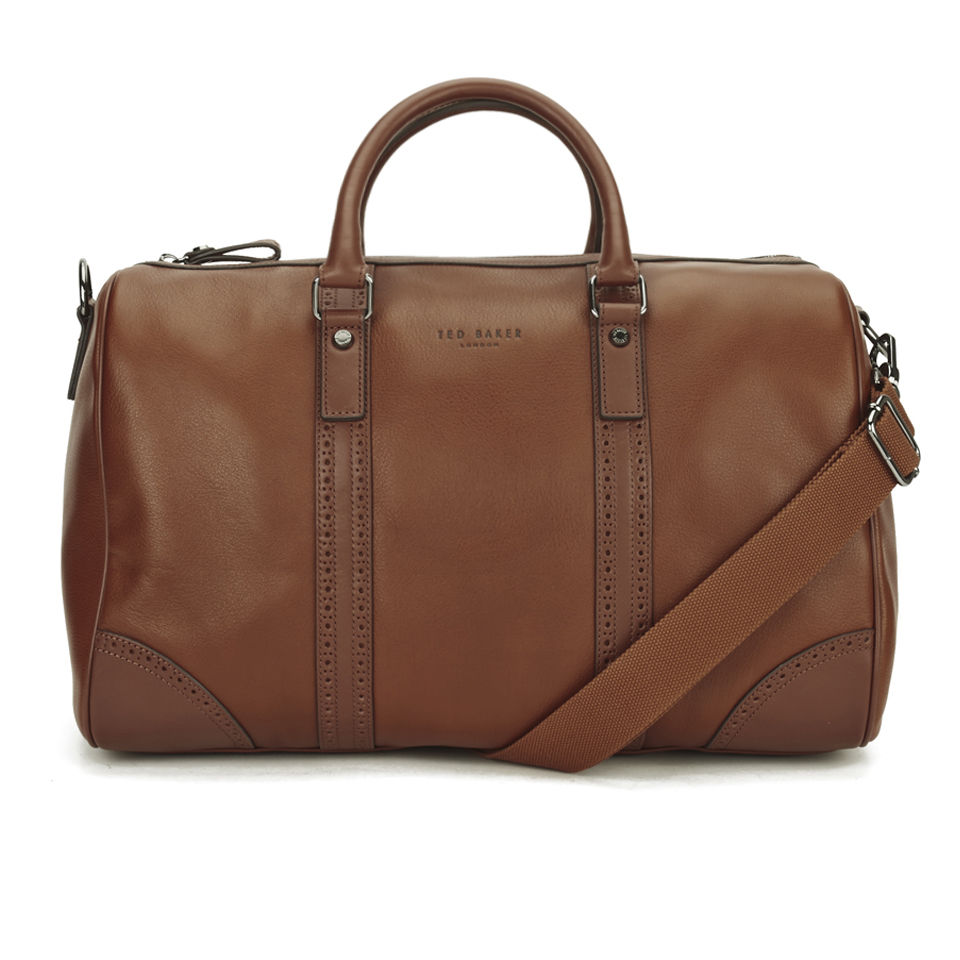 816c1f298 Ted Baker Men s Broguing Leather Holdall Bag - Tan Clothing