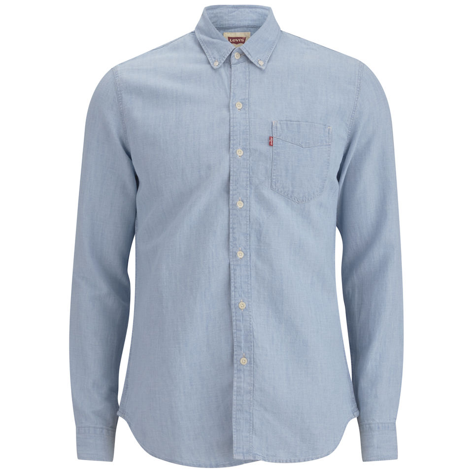 64afbebfe2 ... Levi s Men s Long Sleeve Slim Fit Classic Bleached Denim Shirt - Light  indigo