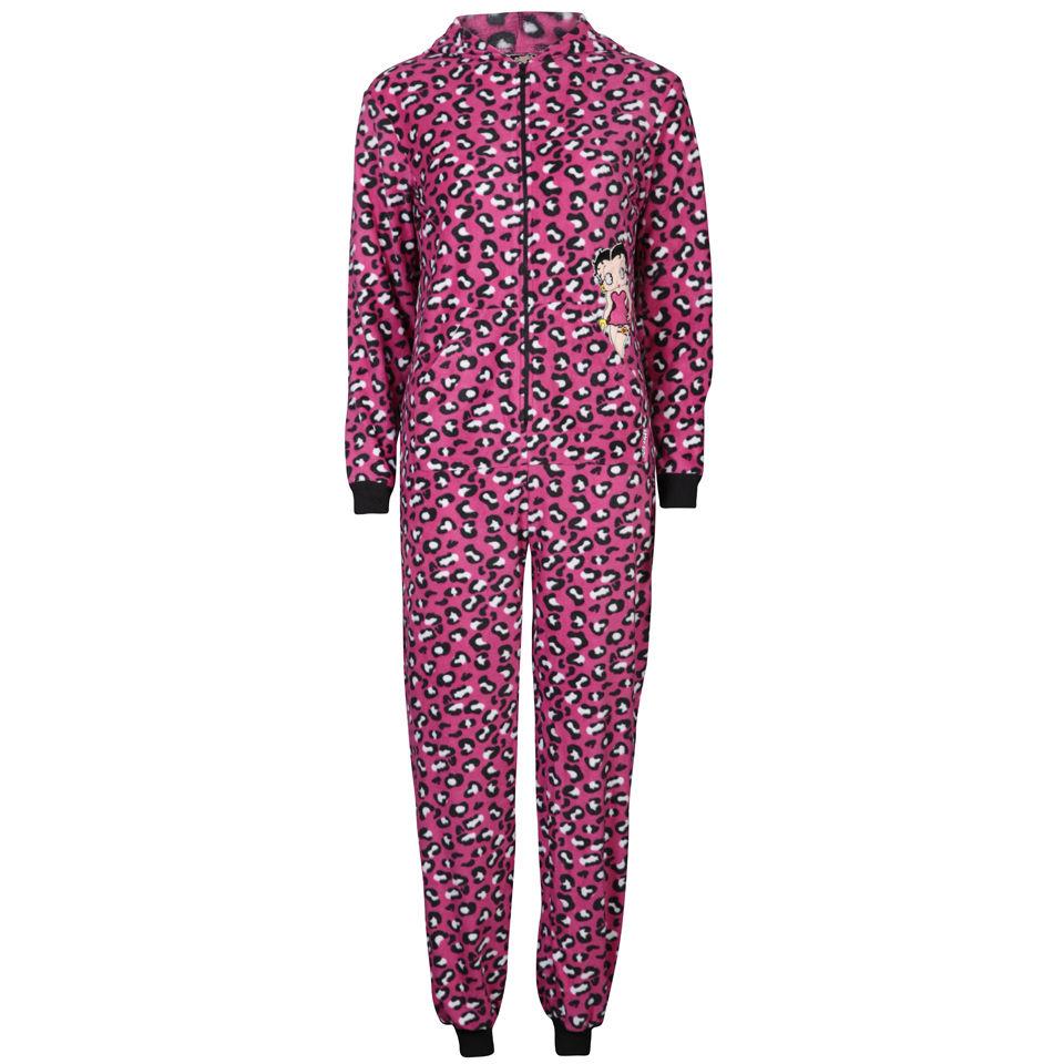 7f90bfb98 Betty Boop Women s Leopard Print Fleece Onesies - Pink Clothing