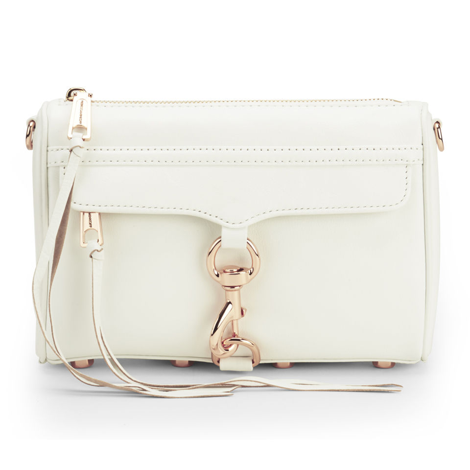 878ce1a88b3 Rebecca Minkoff Women's Mini Mac Leather Cross Body Bag - White with Rose  Gold Hardware