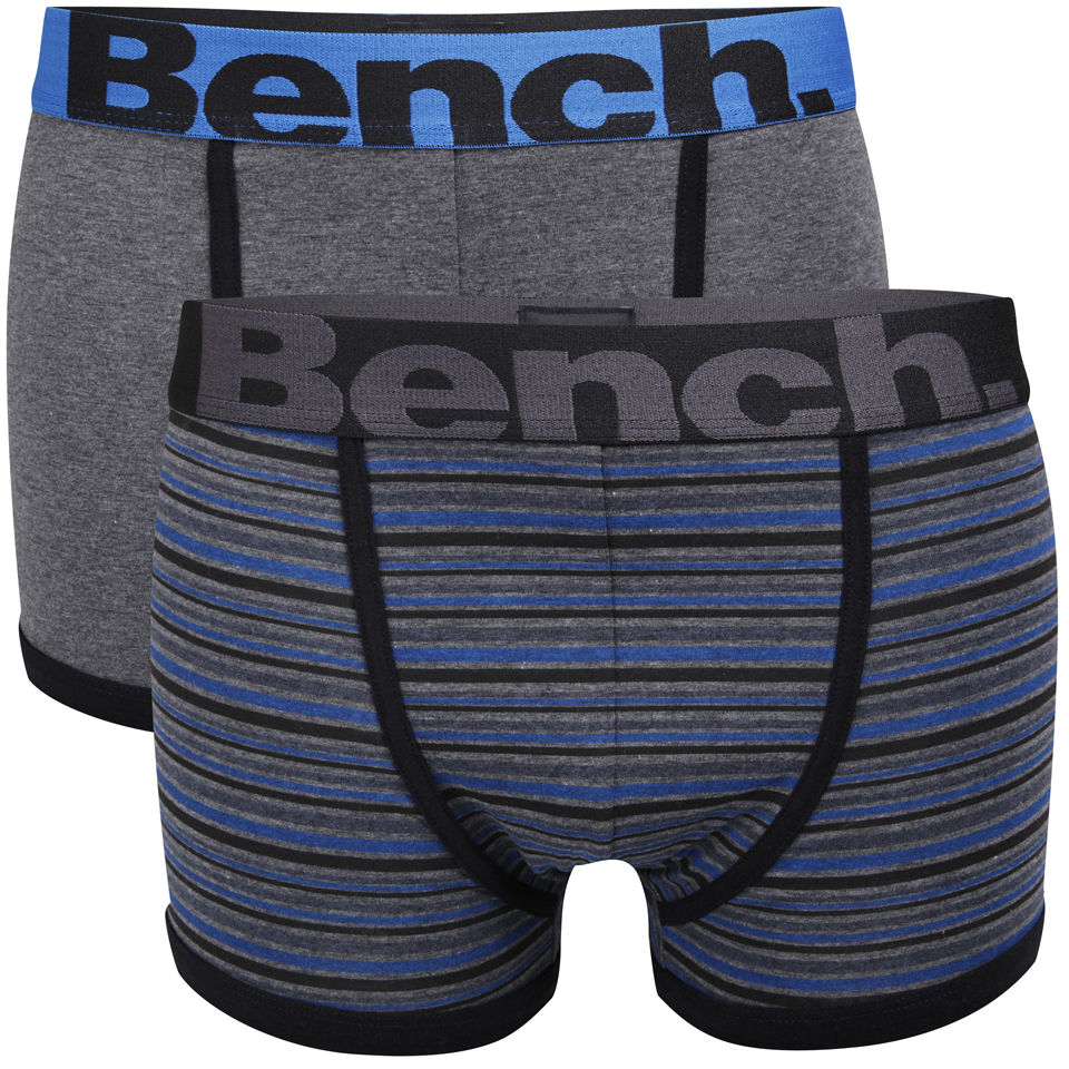 Bench Men S 2 Pack Boxers With Contrast Waistband Blue Stripe Grey