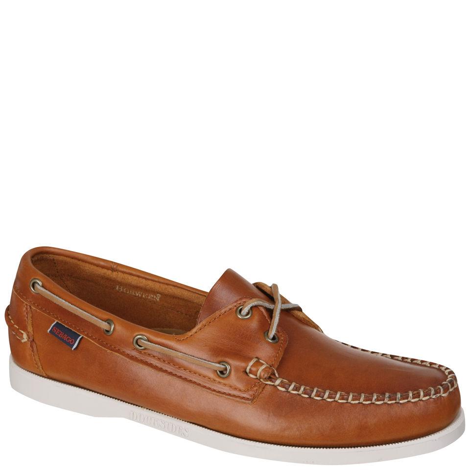 Sebago Men's Leather Horween Docksides Boat Shoes Bright Orange