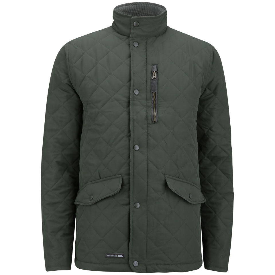 trespass mens argyle quilted jacket olive