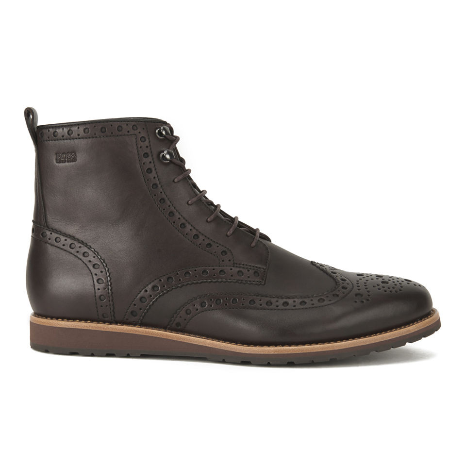 39dc9370fbc BOSS Hugo Boss Men's Casuro Leather Brogue Boots - Brown