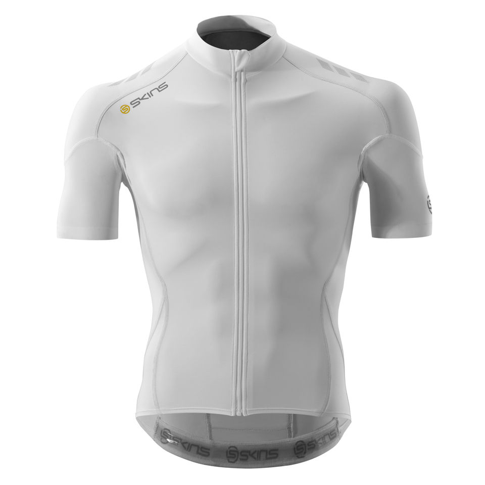 ad725a782 Skins Cycle C400 Compression Short Sleeve Jersey - White Grey ...