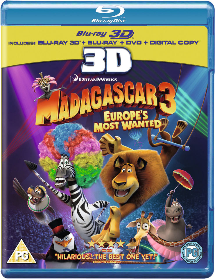 Madagascar 3: Europes Most Wanted 3D (3D Blu-Ray, 2D Blu-Ray, DVD and Digital Copy)