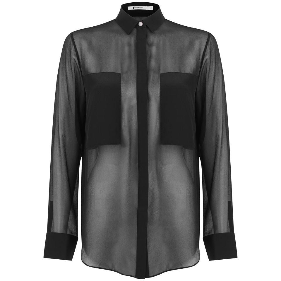 394954f4109e0d T by Alexander Wang Women s Silk Chiffon Long Sleeve Shirt - Black ...