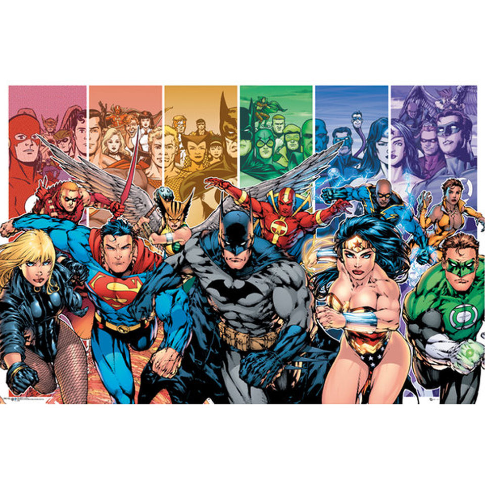 ed5322b3ee846 Description. Maxi poster featuring a replication of classic DC Comics  Justice League characters. Product Details