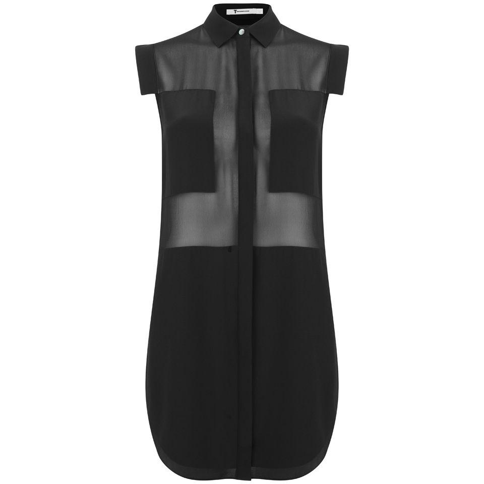 159f49c8e57612 T by Alexander Wang Women s Silk Chiffon Shirt Dress - Black - Free ...