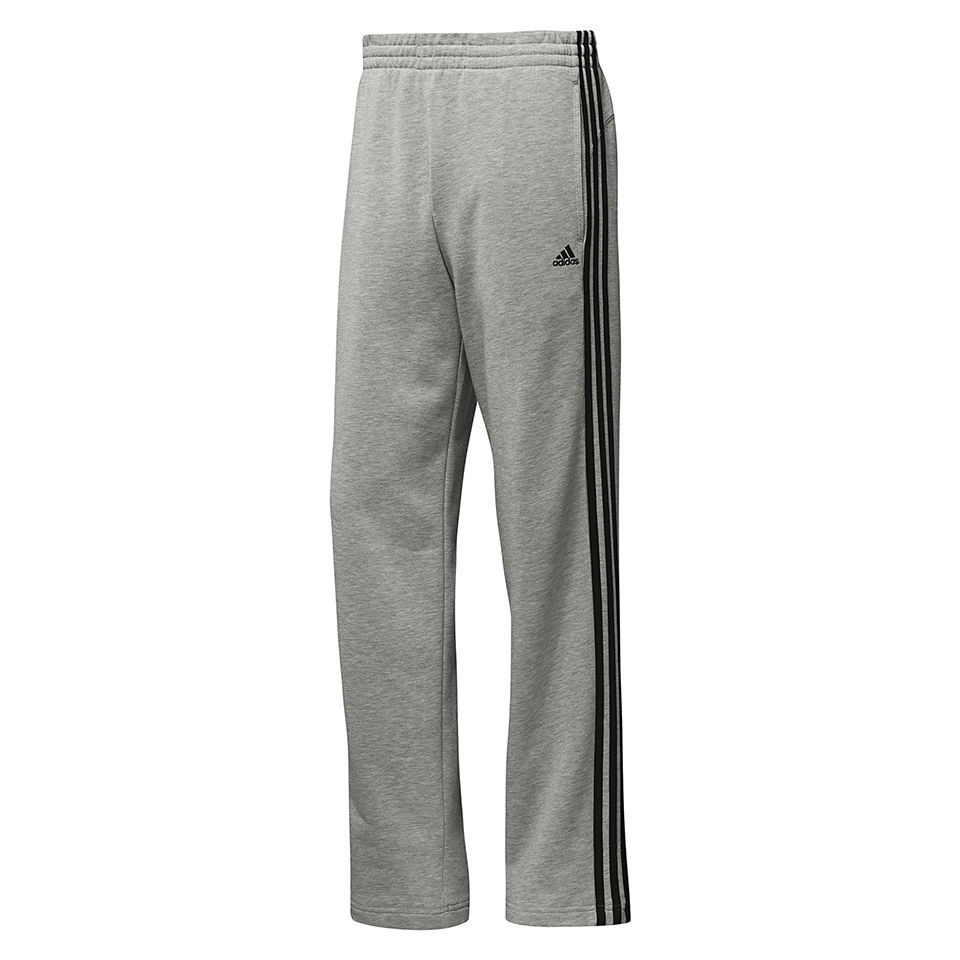 adidas Men's Essential 3 Stripe Open Hem Pants GreyBlack