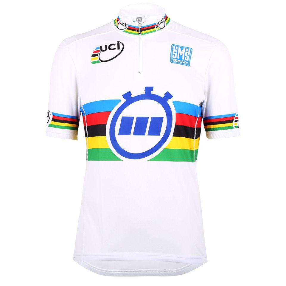 04dac7f2 Santini UCI World Time Trial Champion Short Sleeve Rainbow Jersey - White |  ProBikeKit.com