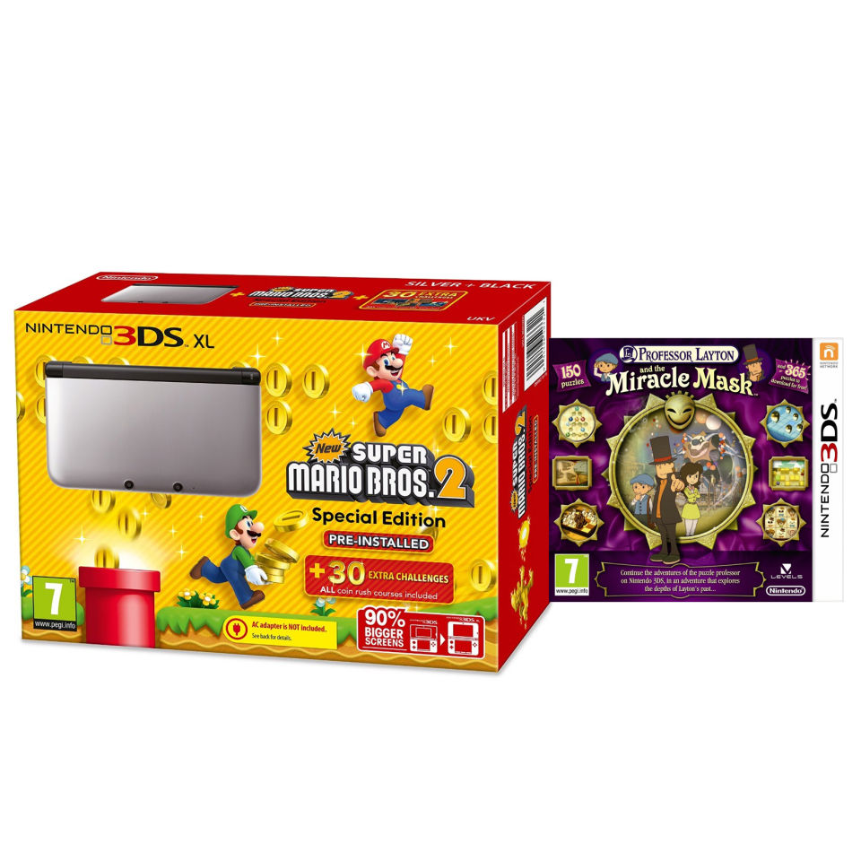 Nintendo 3DS XL Silver and Black Console - Includes New Super Mario Bros 2  & Professor Layton: and The Miracle Mask