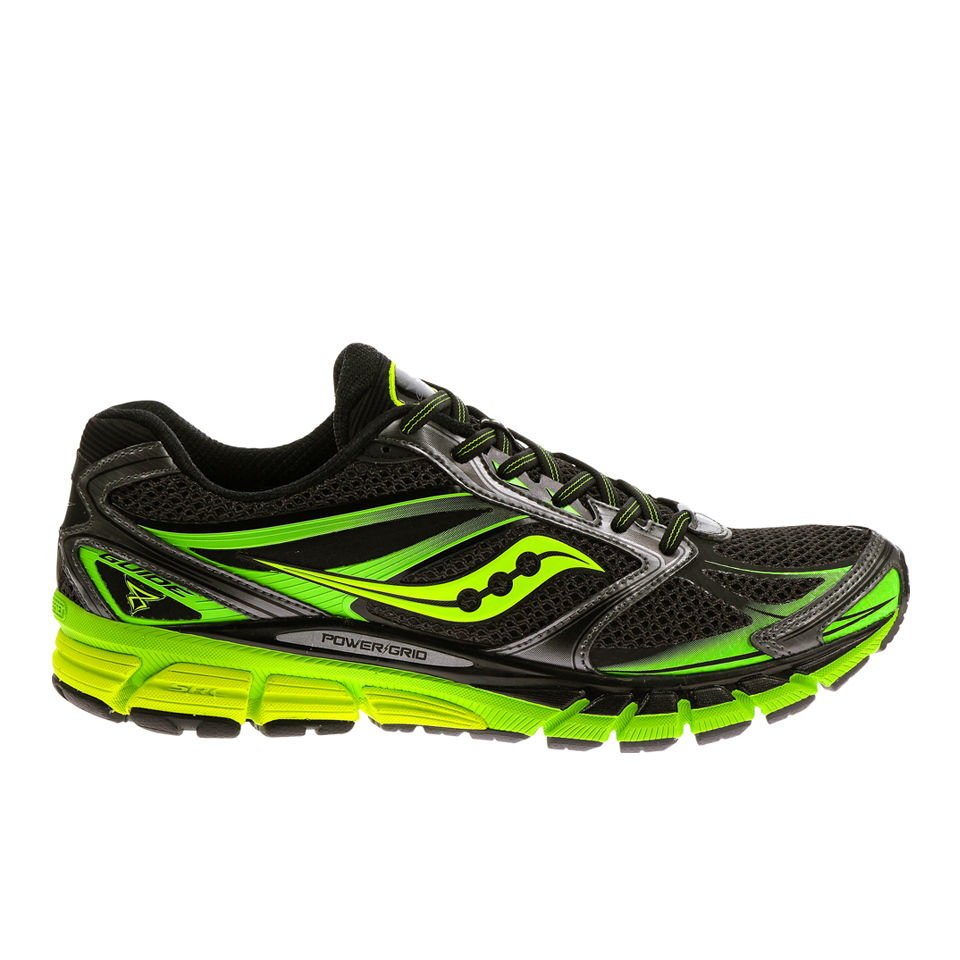 99367ead3fc1 Saucony Mens Guide 8 Running Shoes - Black Green Yellow Sports   Leisure
