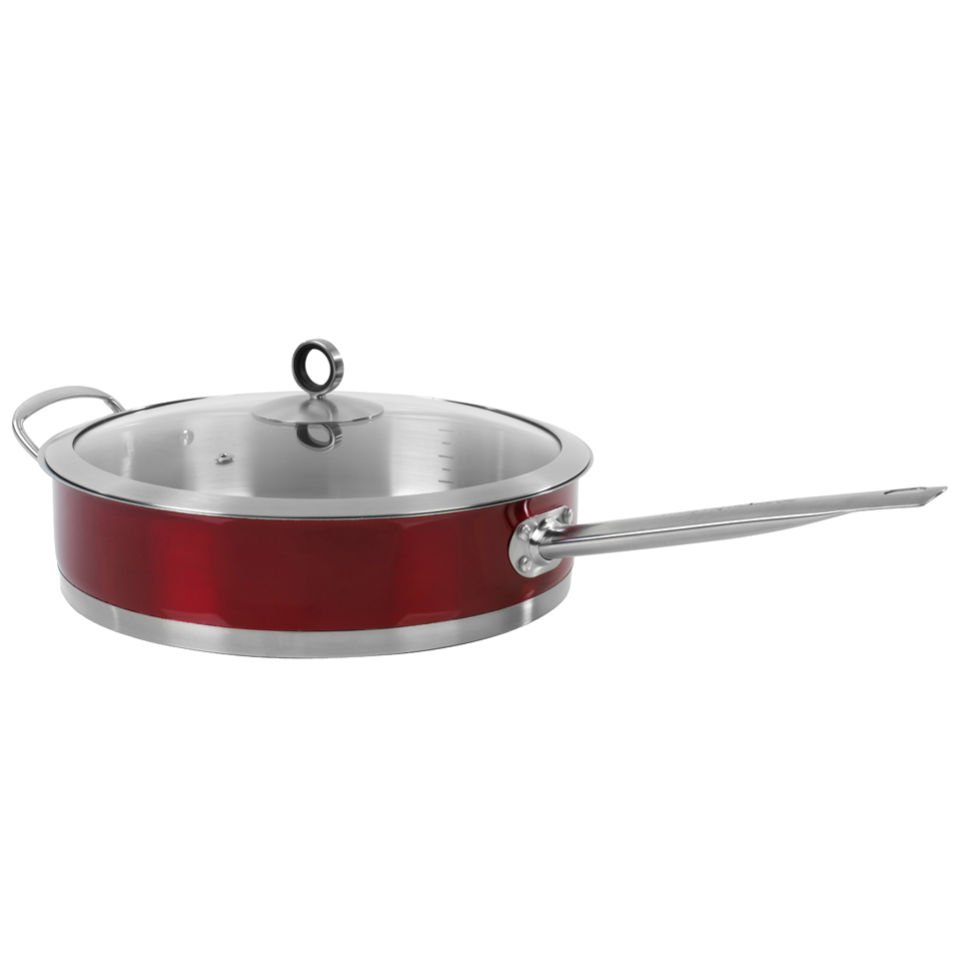 Morphy Richards 46351 Accents 28cm Saute Pan with Glass Lid - Red