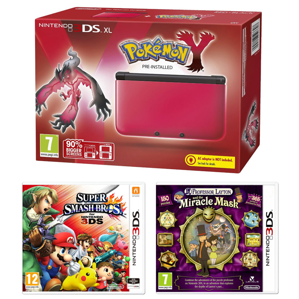 Nintendo 3DS XL Red and Black Console - Includes Pokemon Y, Super Smash  Bros  & Professor Layton: and The Miracle Mask