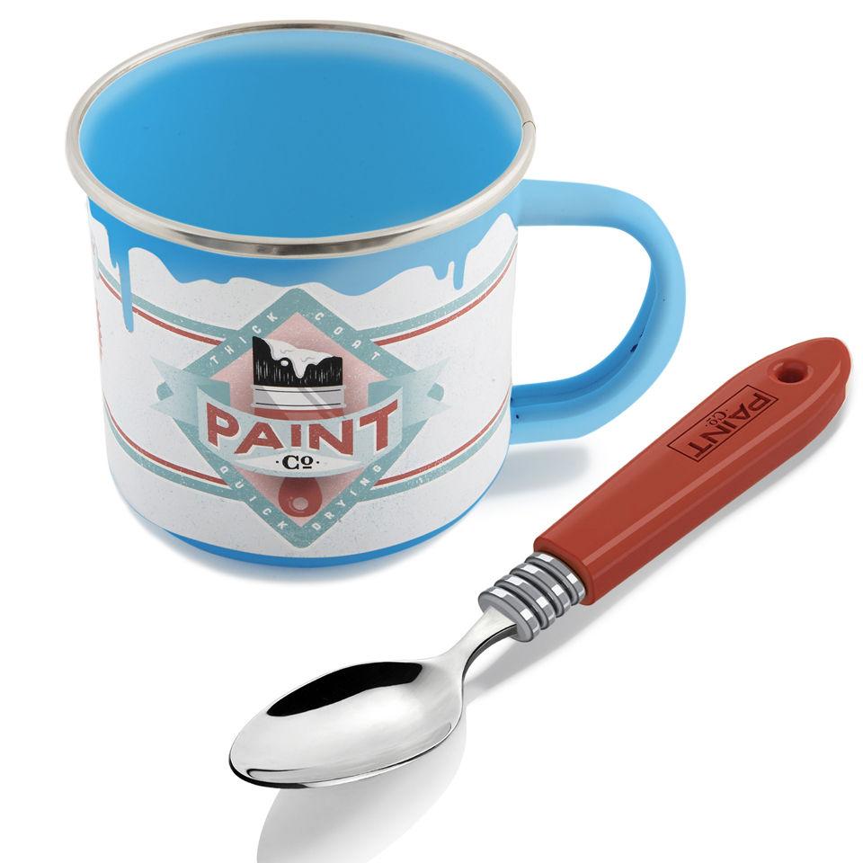 farbtopf tasse mit pinsel l ffel blau sowia. Black Bedroom Furniture Sets. Home Design Ideas