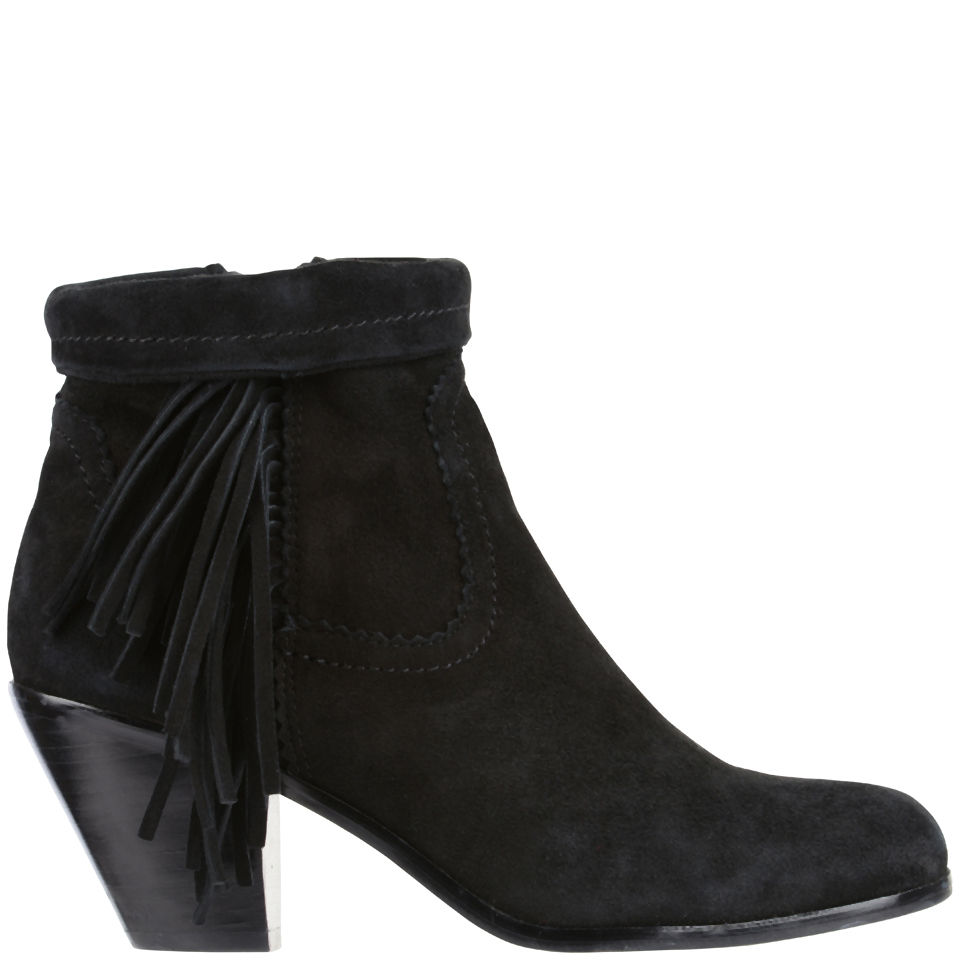 0bc888e37 Sam Edelman Women s Louie Fringed Suede Ankle Boots - Black - Free UK  Delivery over £50
