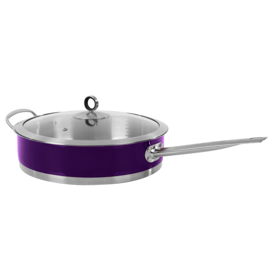 Morphy Richards 46353 Accents Saute Pan with Glass Lid - Plum - 28cm