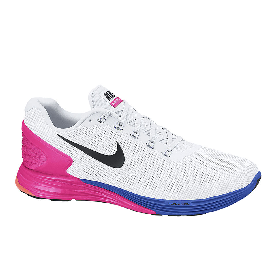 ef35be10d4c1e Nike Women s Lunarglide 6 Running Shoes - White Pink Blue. Description