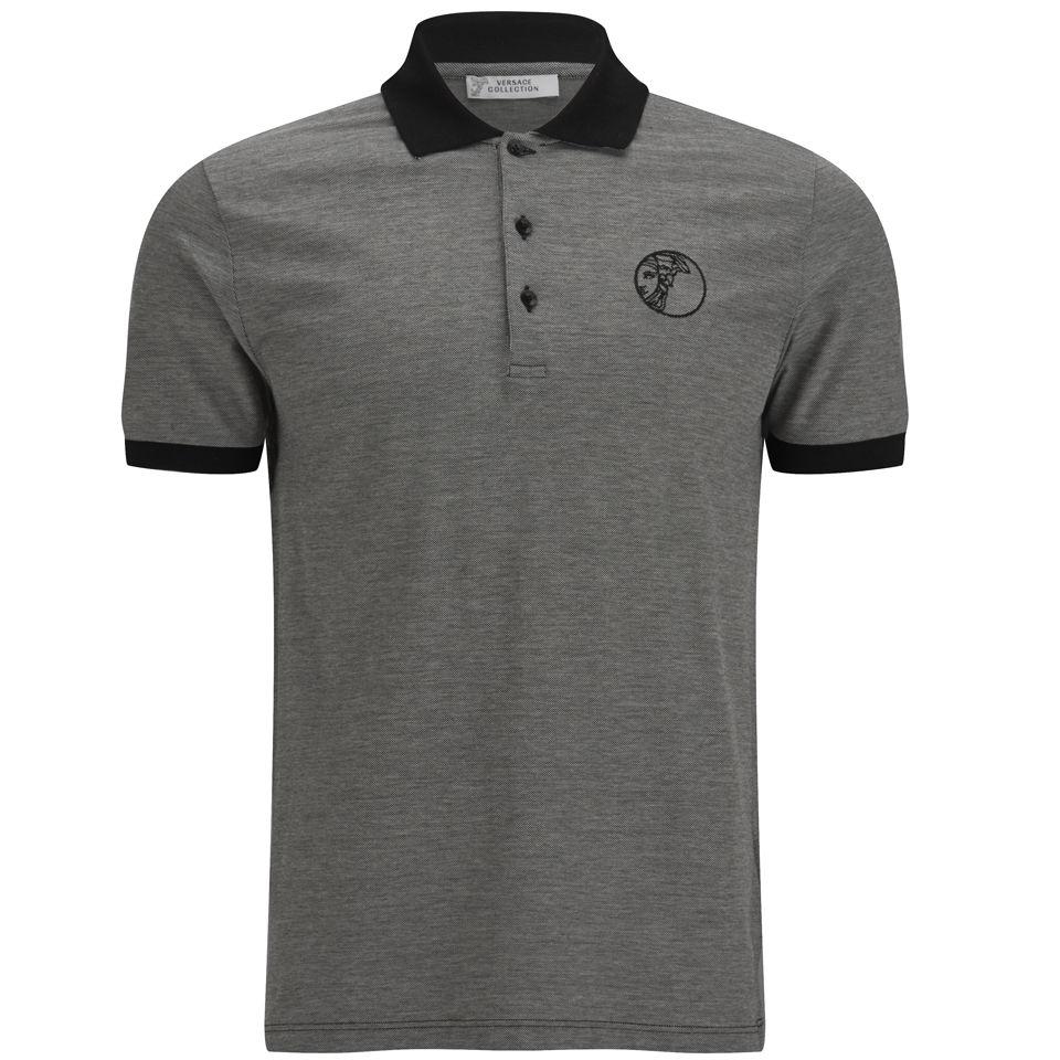 562a8a28 ... Versace Collection Men's Embroidered Medusa Polo Shirt - Black/Grey